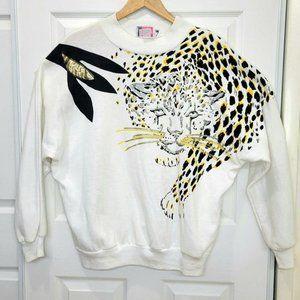 VTG KNIT AWAY Leopard Print White Sweater Size 20W